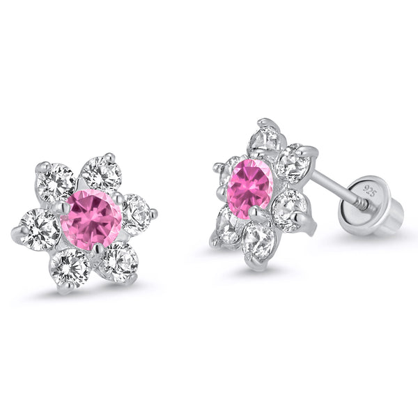 Sterling Silver Rhodium Plated Pink Flower Screwback Girls Earrings