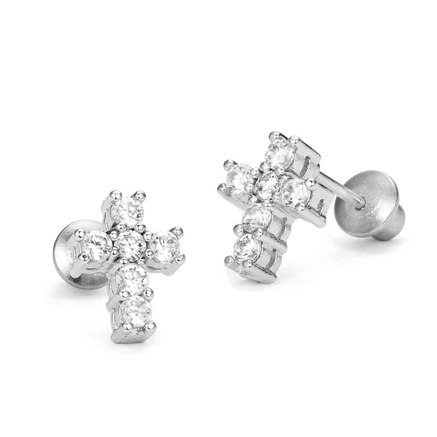925 Sterling Silver Rhodium Plated Cross CZ Screwback Baby Girls Earrings