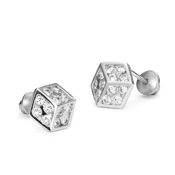 Sterling Silver Rhodium Plated Dice Screwback Girls Earrings