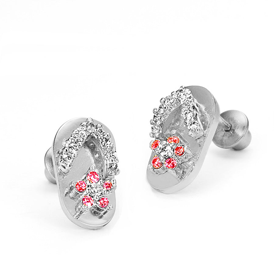 925 Sterling Silver Rhodium Plated Sandal CZ Screwback Baby Girls Earrings