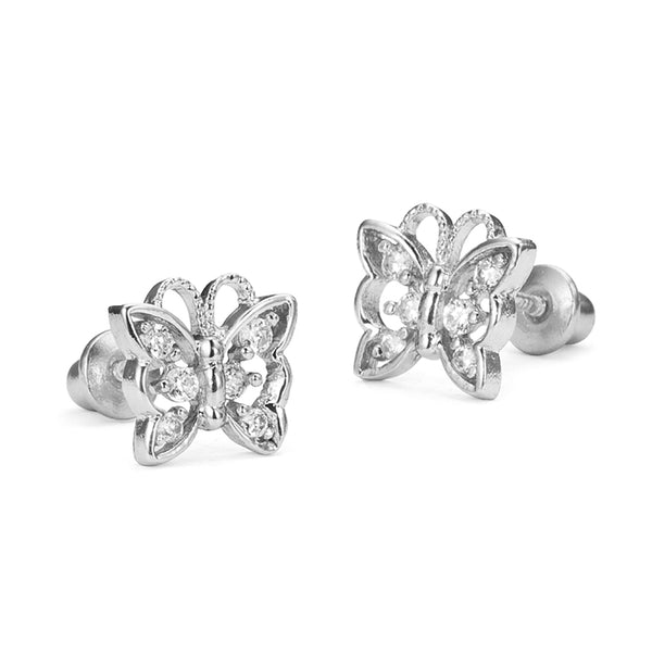 925 Sterling Silver Rhodium Plated Butterfly Cubic Zirconia Screwback Baby Girls Earrings