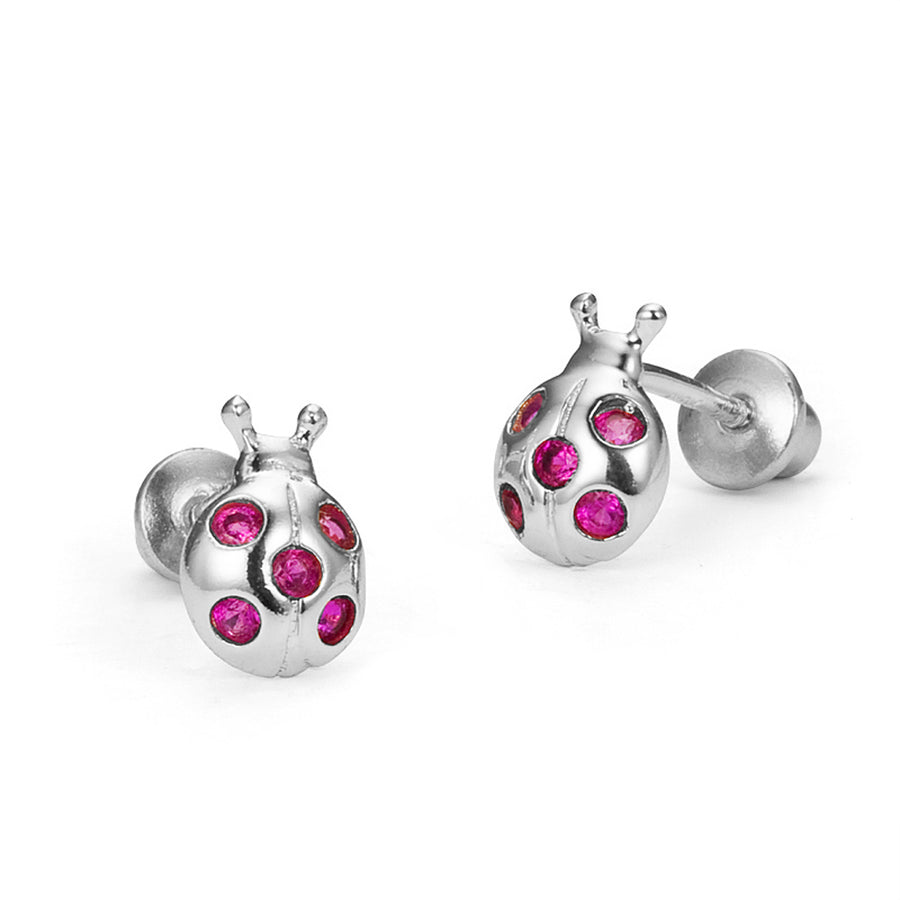 925 Sterling Silver Rhodium Plated Lady Bug CZ Screwback Baby Girls Earrings