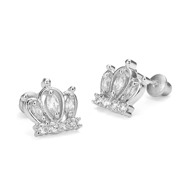 Sterling Silver Rhodium Plated Crown Screwback Girls Earrings