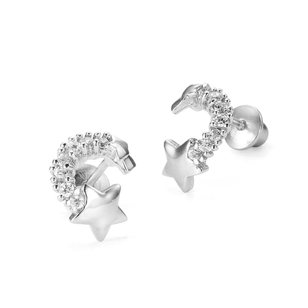 Sterling Silver Rhodium Plated Shooting Star Screwback Girls Earrings