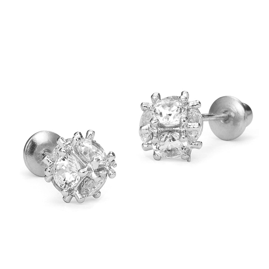 925 Sterling Silver Rhodium Plated CZ Disco Ball CZ Screwback Baby Girl Earrings