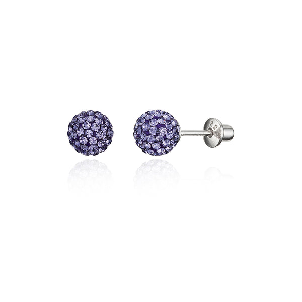 8c054f580 925 Sterling Silver Rhodium Plated 6mm Crystal Ball Screwback Baby Gir – Children  Earrings by Lovearing
