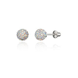 Sterling Silver Rhodium Plated 6mm Crystal Ball Screwback Girls Earrings