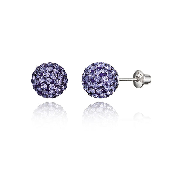 f5908e380 925 Sterling Silver Rhodium Plated 8mm Crystal Ball Screwback Baby Gir – Children  Earrings by Lovearing