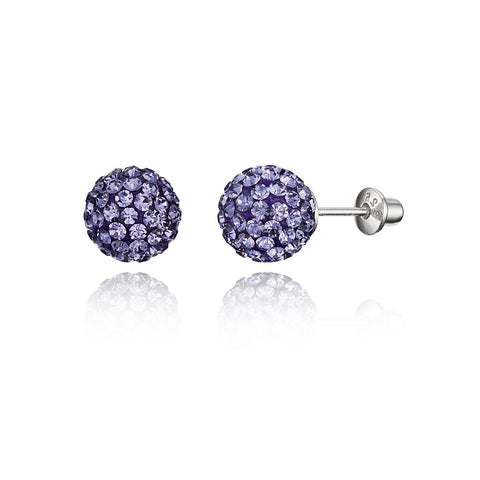 925 Sterling Silver Rhodium Plated 8mm Crystal Ball Screwback Baby Girl Earrings