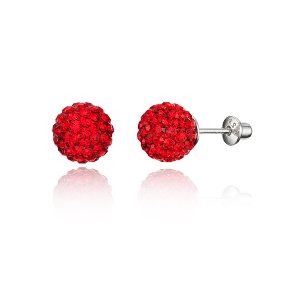 Sterling Silver Rhodium Plated 8mm Crystal Ball Screwback Girls Earring