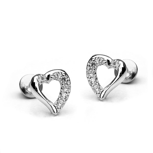 Sterling Silver Rhodium Plated Open Heart Screwback Girls Earrings