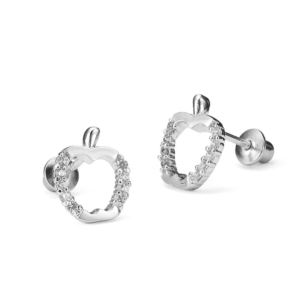 Sterling Silver Rhodium Plated Apple Screwback Girls Earrings