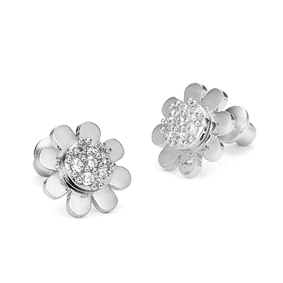 925 Sterling Silver Rhodium Plated Sunflower CZ Screwback Baby Girls Earrings