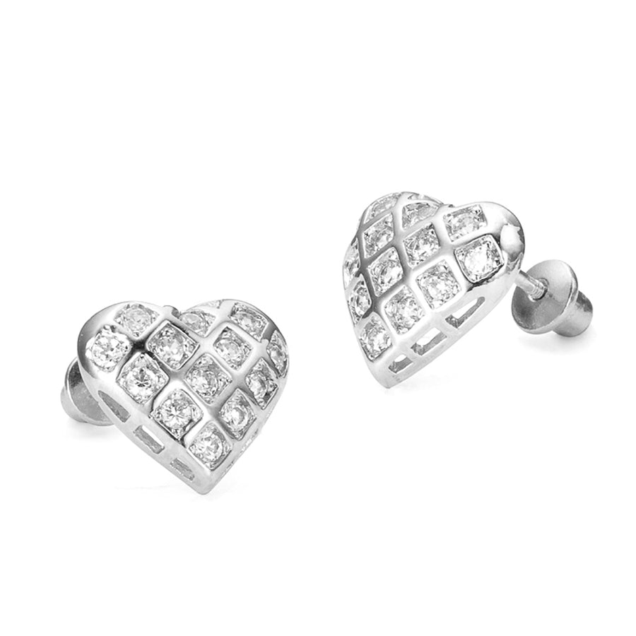 925 Sterling Silver Rhodium Plated Heart CZ Screwback Baby Girls Earrings