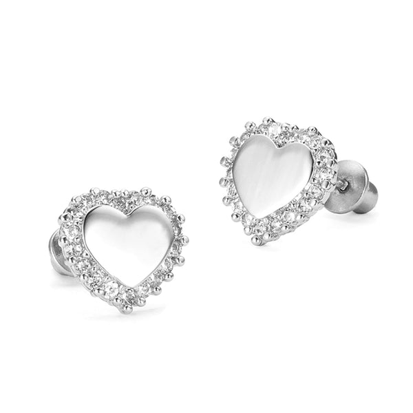 Sterling Silver Rhodium Plated Heart CZ Screwback Girls Earrings