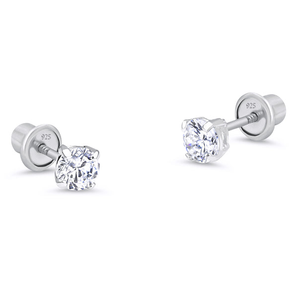925 Sterling Silver Rhodium Plated 2-6mm Basket CZ Screwback Baby Girls Earrings