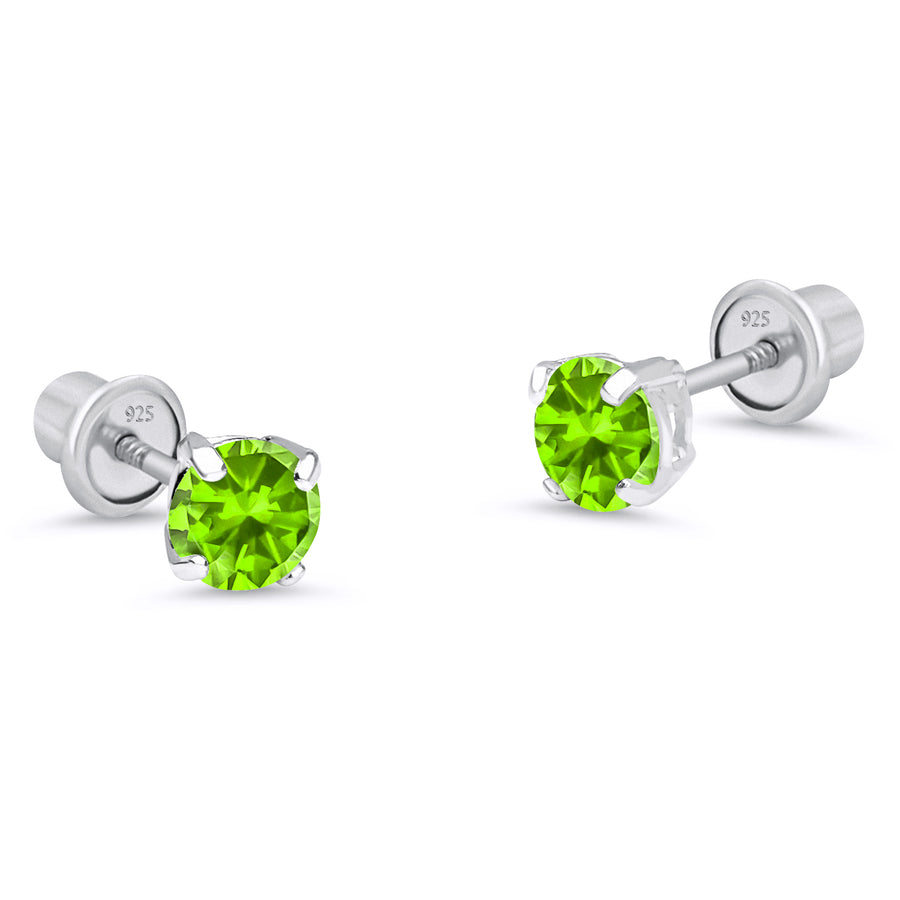 925 Sterling Silver Rhodium Plated 3mm Birth CZ Screwback Baby Girls Earrings