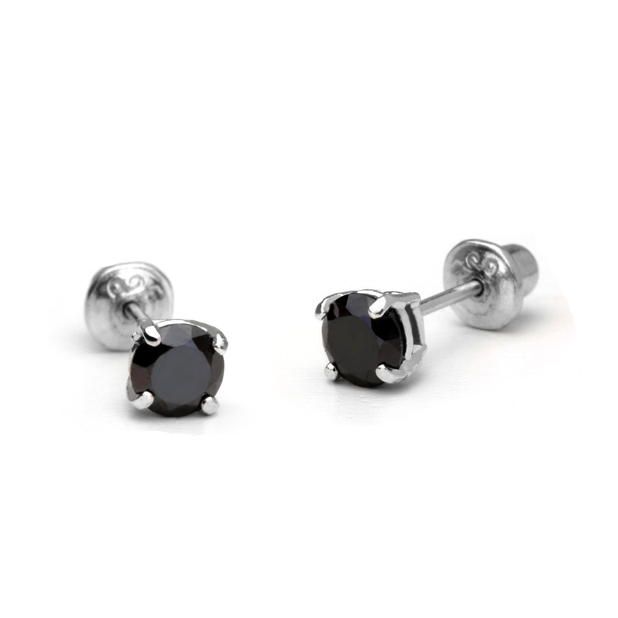 925 Sterling Silver Rhodium Plated 3-6mm Black CZ Screwback Baby Girls Earrings
