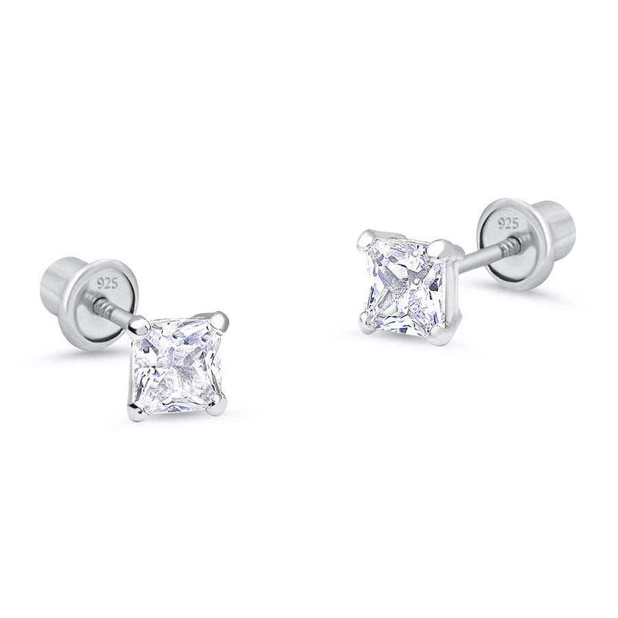 925 Sterling Silver Rhodium Plated 3-6 mm Princess Cut CZ Screwback Girl Earring