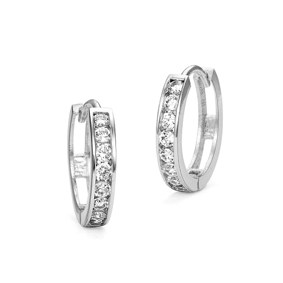 925 Sterling Silver Rhodium Plated 3mm x 16mm CZ Baby Girl Huggie Earrings