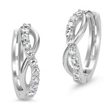 Sterling Silver Rhodium Plated Infinity Huggy Earrings