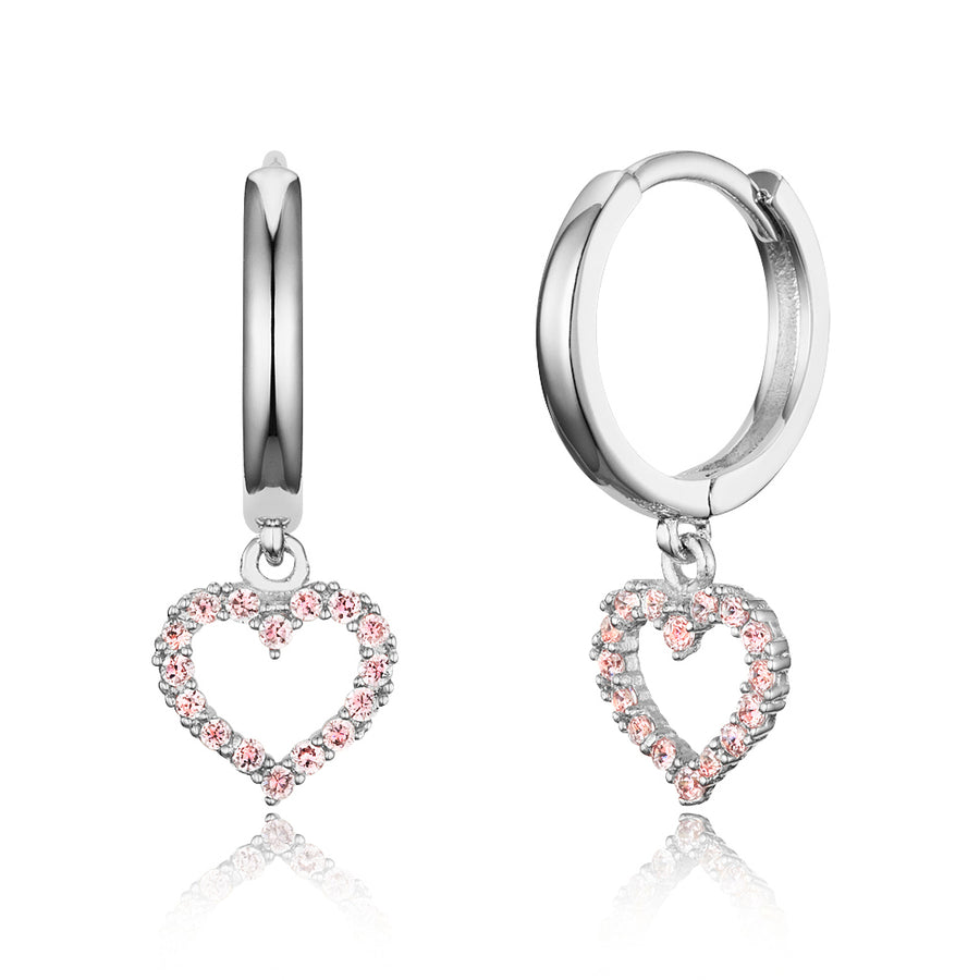 925 Sterling Silver Rhodium Plated Plain CZ Heart Baby Girl Hoop Huggy Earrings