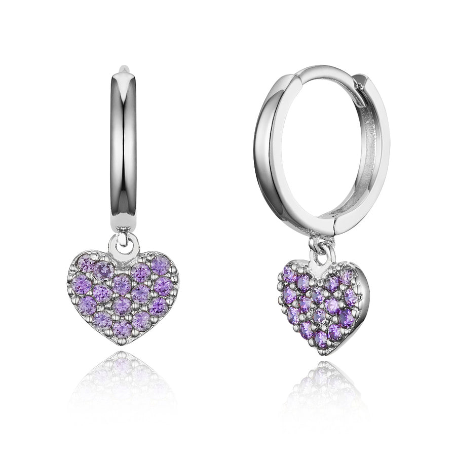 925 Sterling Silver Rhodium Plated Plain CZ Heart Baby Girl Hoop Huggie Earrings