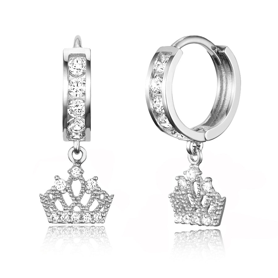 925 Sterling Silver Rhodium Plated CZ Princess Crown Baby Girl Huggie Earrings
