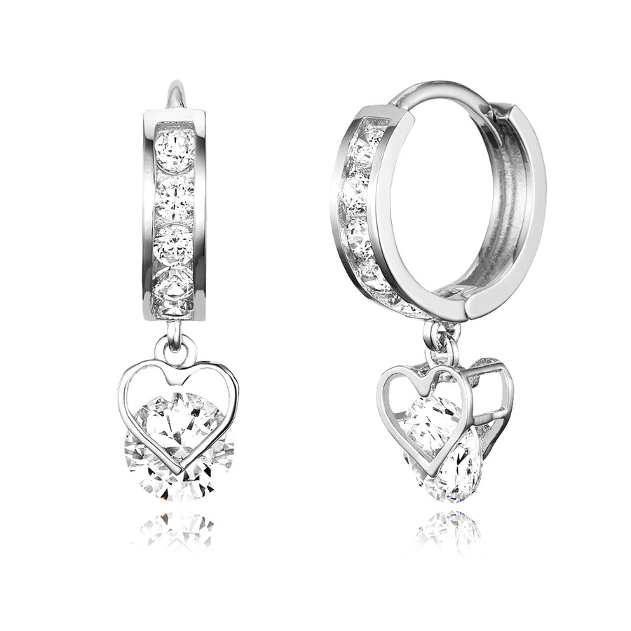 925 Sterling Silver Rhodium Plated Channel CZ Heart Baby Girl Huggie Earrings