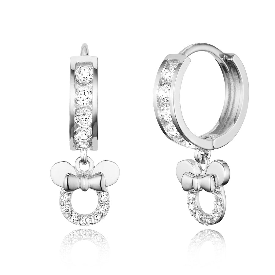 925 Sterling Silver Rhodium Plated Channel CZ Mouse Baby Girl Huggie Earrings