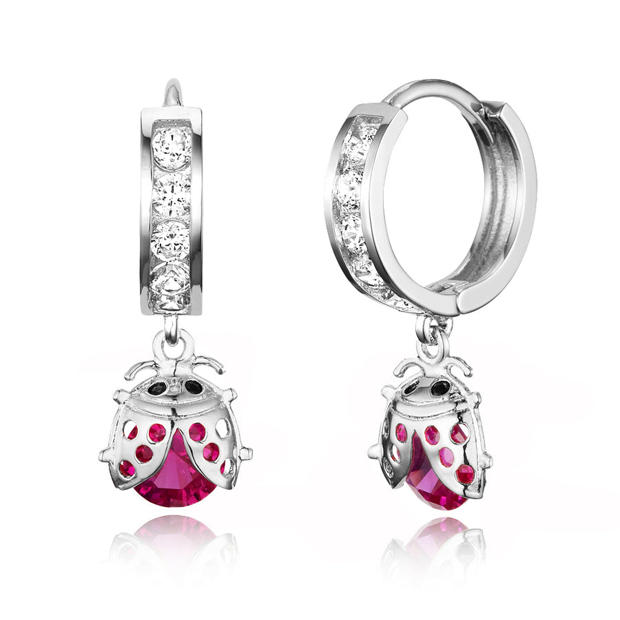 925 Sterling Silver Rhodium Plated Channel CZ Lady Bug Baby Girl Huggie Earrings