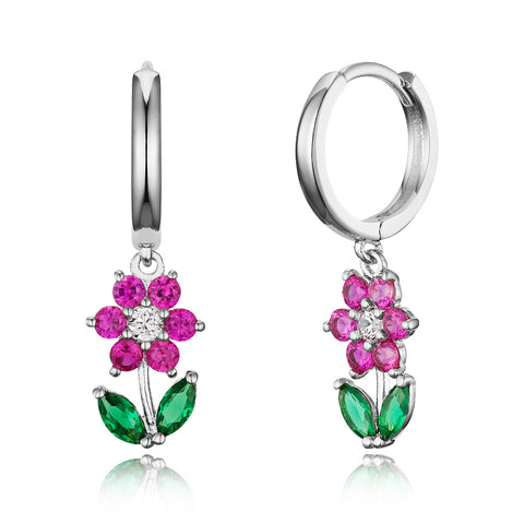 925 Sterling Silver Rhodium Plated Plain CZ Flower Baby Girl Hoop Huggy Earrings