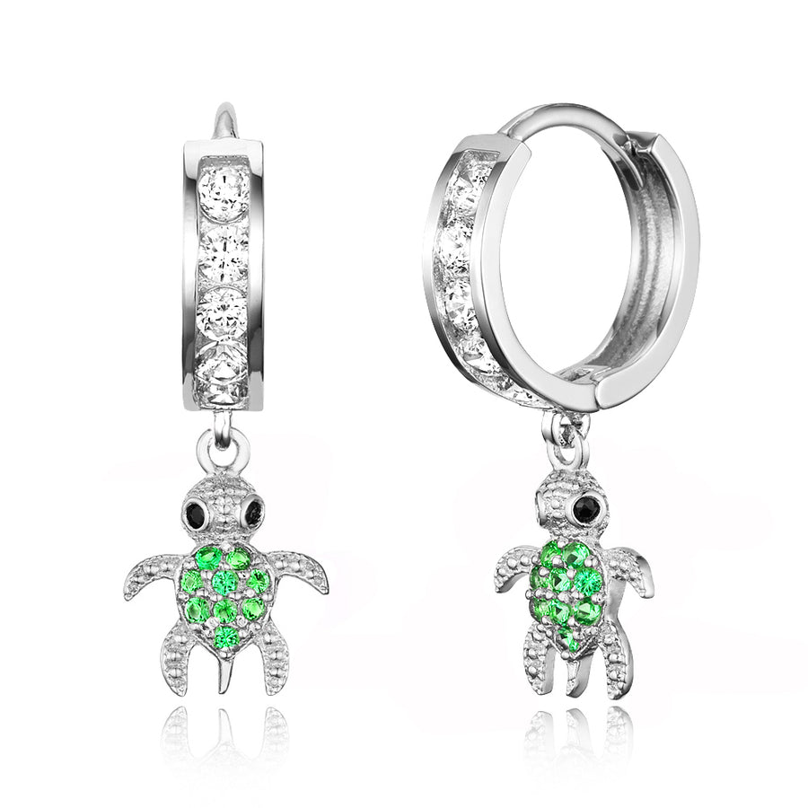 925 Sterling Silver Rhodium Plated Channel CZ Turtle Baby Girl Huggie Earrings