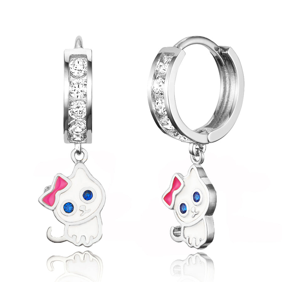 925 Sterling Silver Rhodium Plated Channel CZ Cat Baby Girl Hoop Huggie Earrings