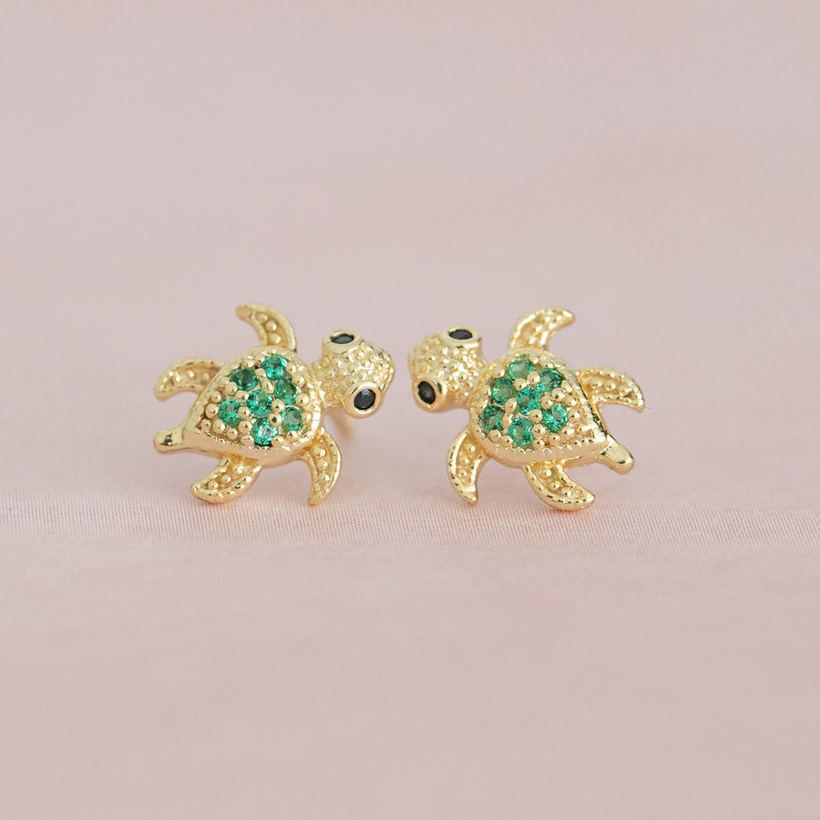 14k Gold Plated Brass Turtle CZ Screwback Baby Girls Earrings with Silver Post