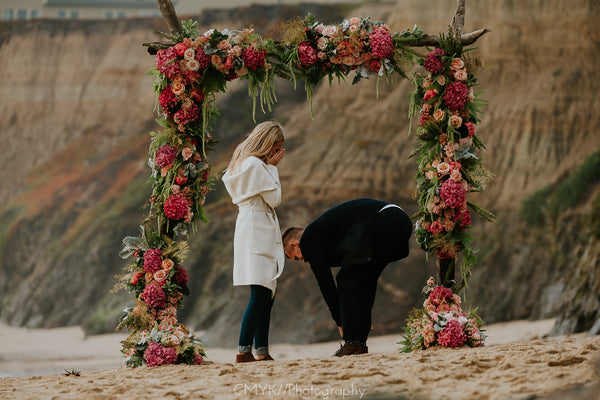 Half Moon Bay proposal, The Yes Girls Events, The Box Sock, Beach Proposal, Northern CA proposal, California Proposal, Floral Arch Proposal