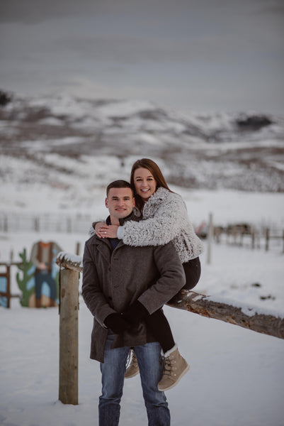 Couple doing engagement photos