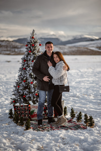 Couple getting engaged in the snow
