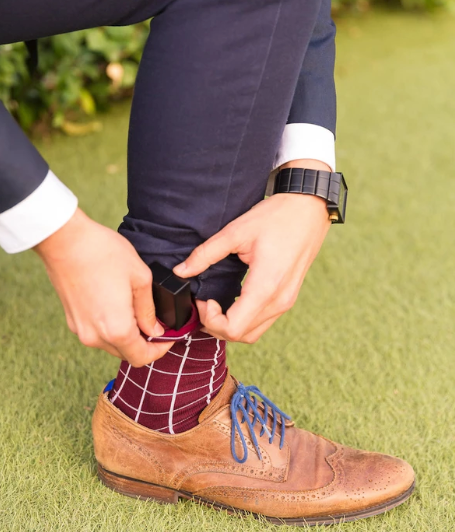 Burgundy Box Sock that hides your thin engagement ring box