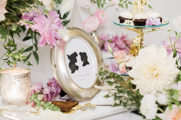 Little mermaid image with flowers and silver frame