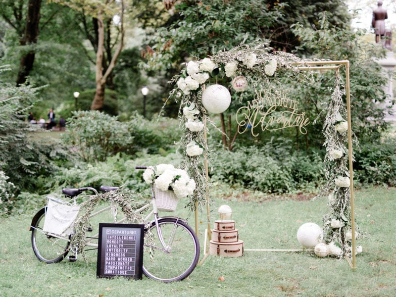 globes and travel decorations for marriage proposal