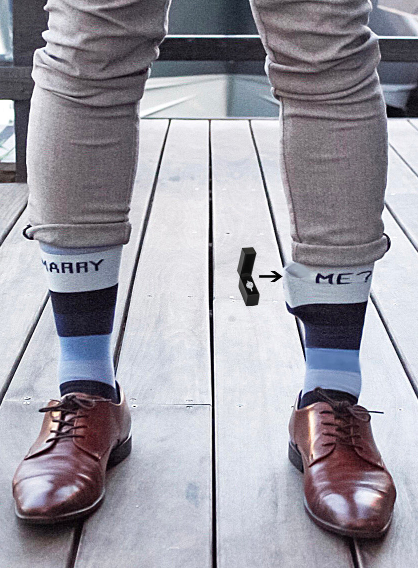 Marry Me Navy Socks with Pocket for Men