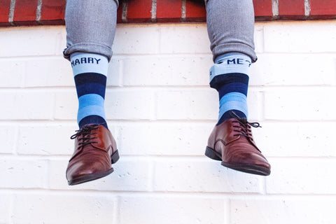 navy marry me socks