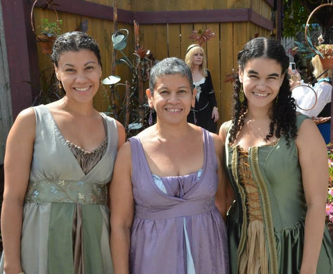Alexis, Carmen, and Sara in the dresses they made for the Renaissance Faire.