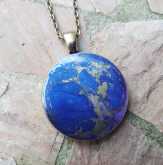 Resin Pendant: Blue & Gold