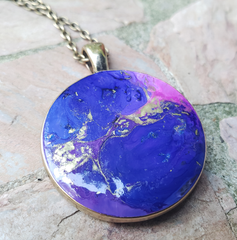 Resin Pendant: Blue & Pink