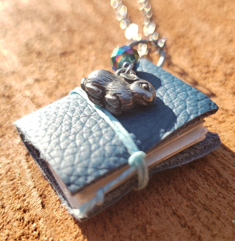 Blue Book Necklace with Bunny
