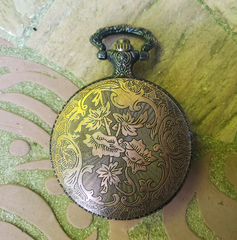 Pocket Watch Library with Orange Dragon, Copper