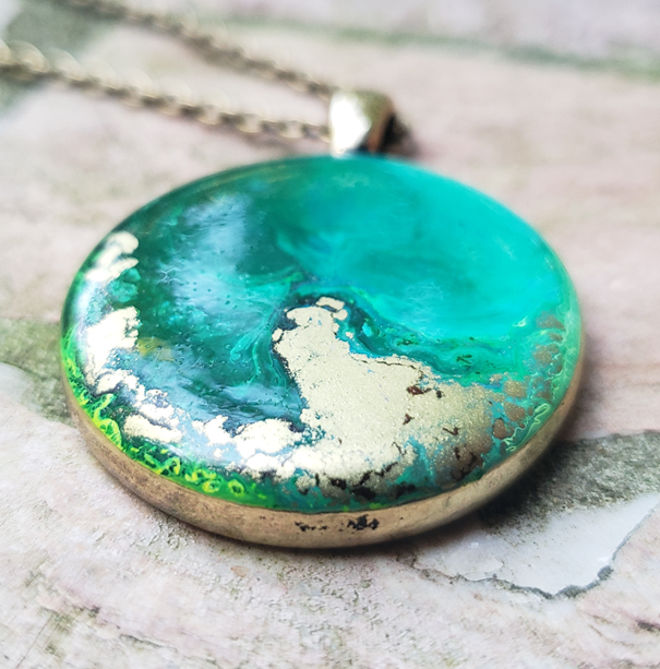Resin Pendant: Green & Gold