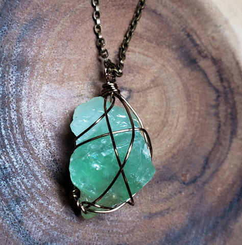 Green Calcite Wire Wrapped Pendant